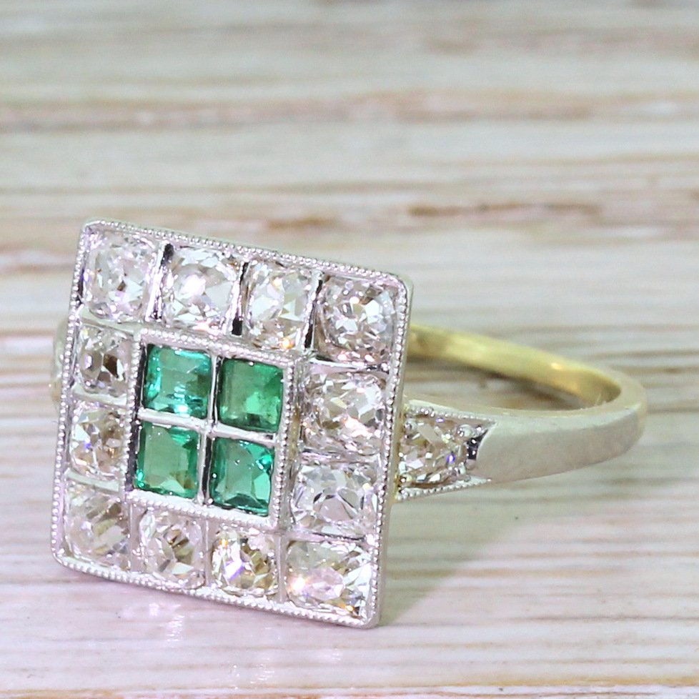 art deco emerald 038 old cut diamond square cluster ring circa 1925
