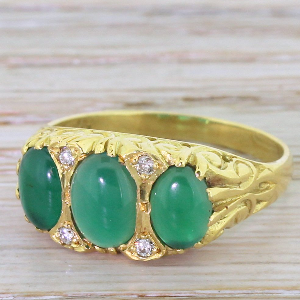 modern victoriana chrysoprase three stone ring 18k yellow gold