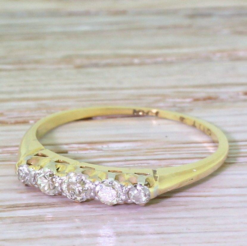 edwardian 025 carat old cut diamond five stone ring circa 1905