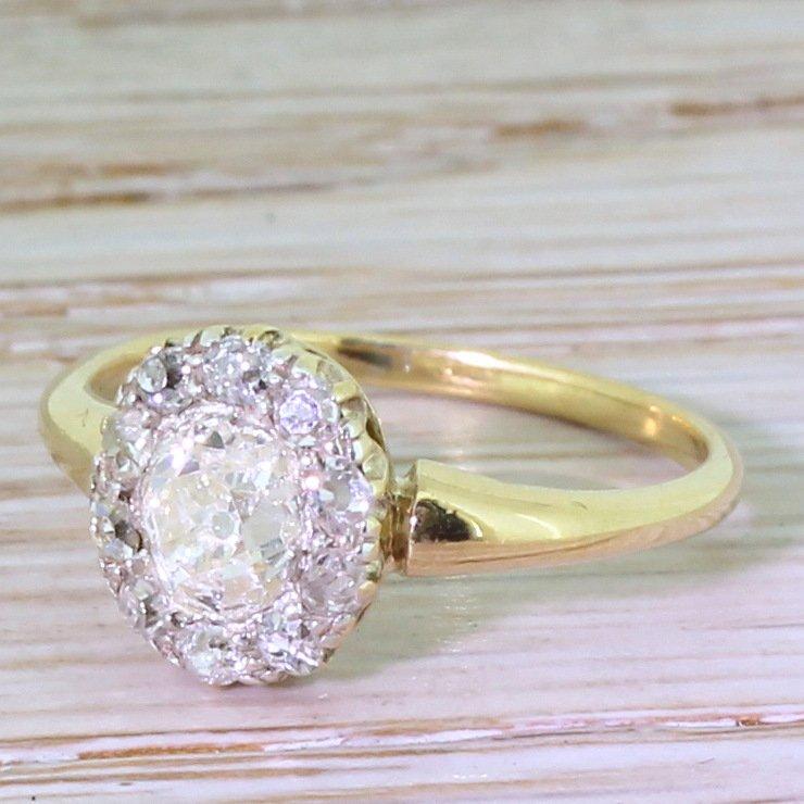 victorian 091 carat old cut diamond cluster ring circa 1890