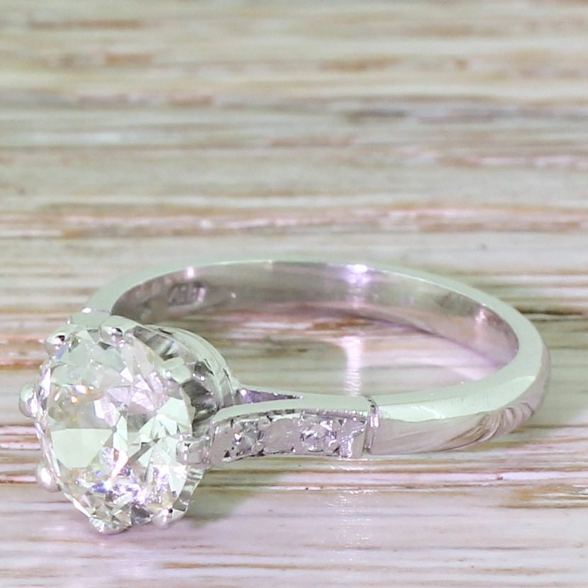 art deco 187 carat old european cut diamond engagement ring dutch circa 1930