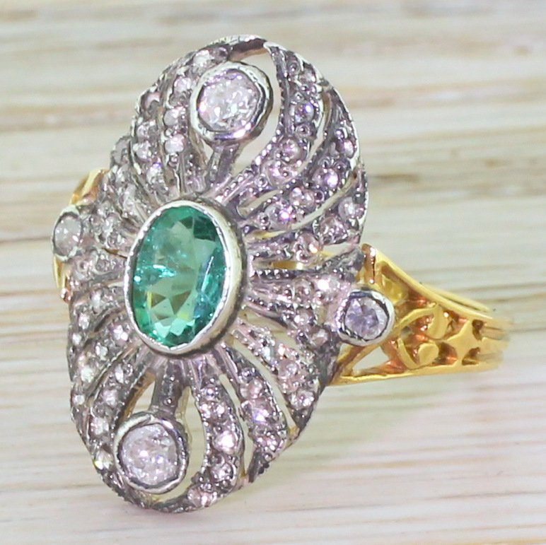 emerald old cut diamond 038 rose cut diamond cluster ring yellow gold