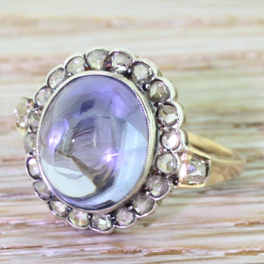 victorian 600 carat sky blue cabochon sapphire 038 rose cut diamond ring circa 1880