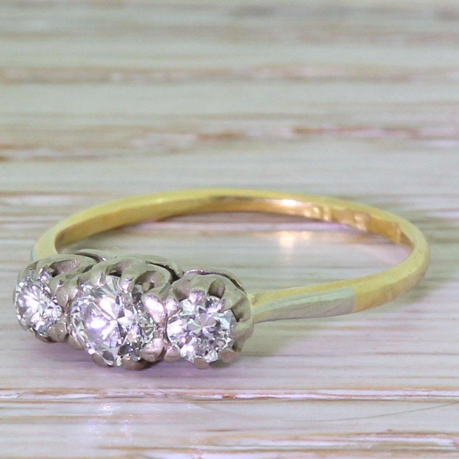 art deco 065 carat transitional cut diamond trilogy ring circa 1935