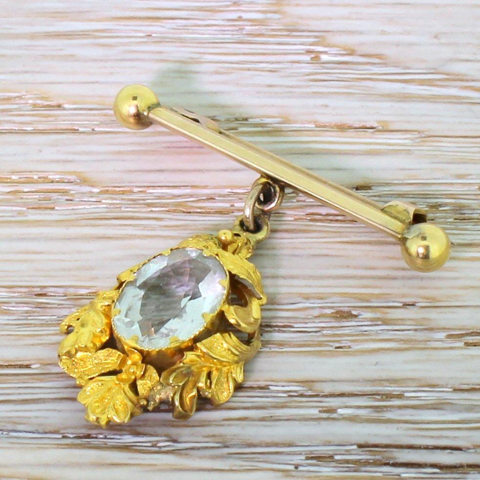 victorian 300 carat aquamarine foliate drop pin circa 1900