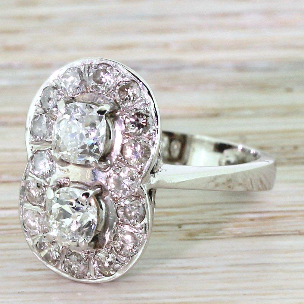 retro 208 carat old cut diamond double cluster ring circa 1945