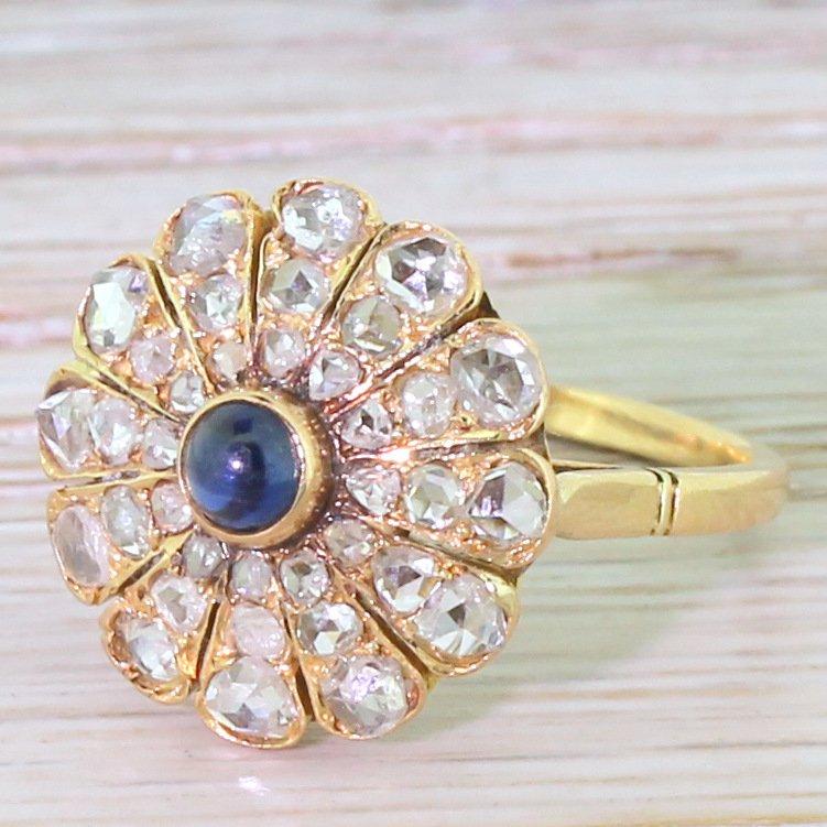 edwardian cabochon sapphire 038 rose cut diamond cluster ring circa 1910