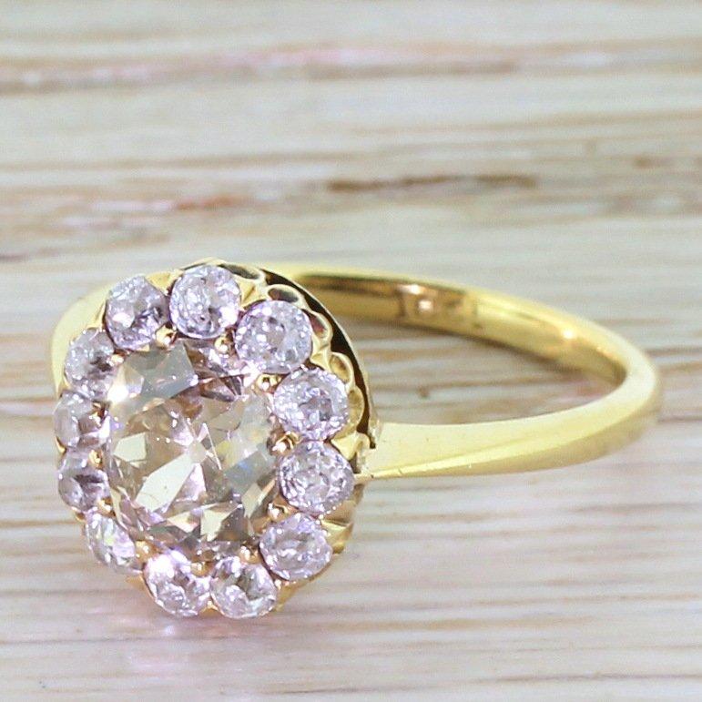 victorian light fancy cognac old cut diamond cluster ring circa 1890