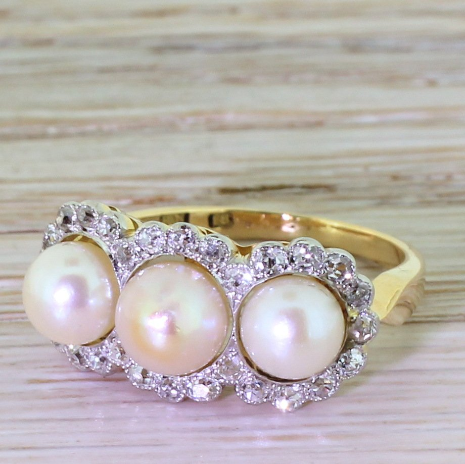 art deco natural pearl 038 old cut diamond triple cluster ring circa 1925