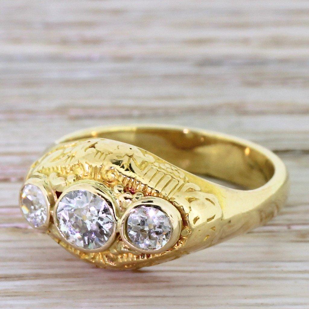 mid century 075 carat old cut diamond trilogy ring circa 1950