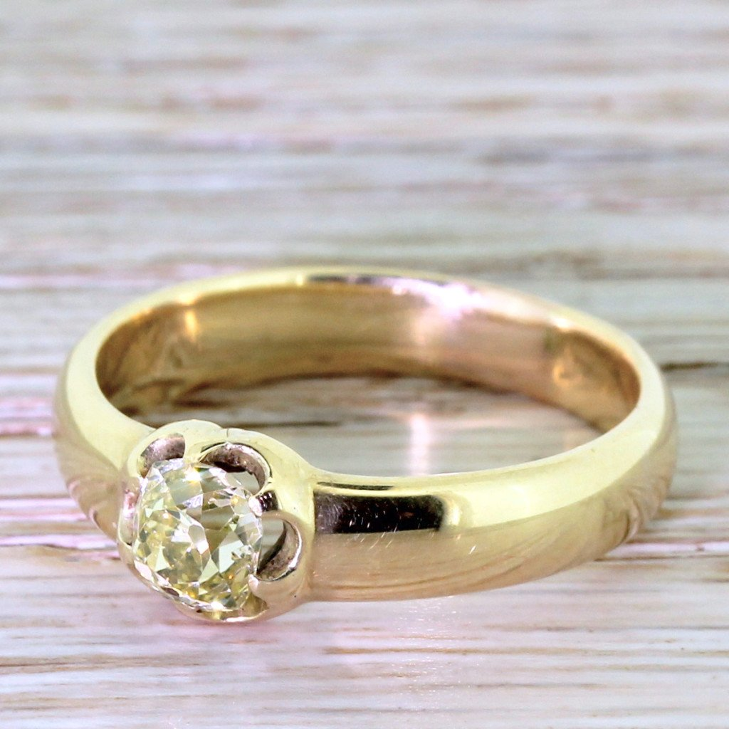 victorian 075 carat fancy light yellow old cut diamond solitaire ring circa 1900
