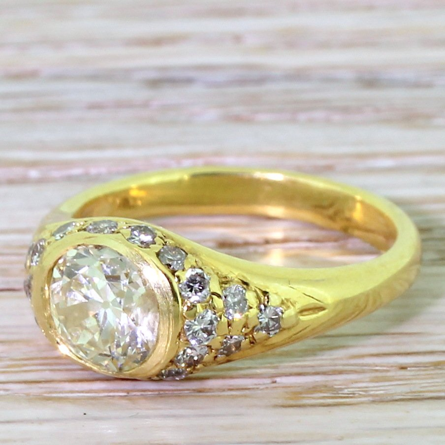 mid century 121 carat old oval cut diamond solitaire ring circa 1960