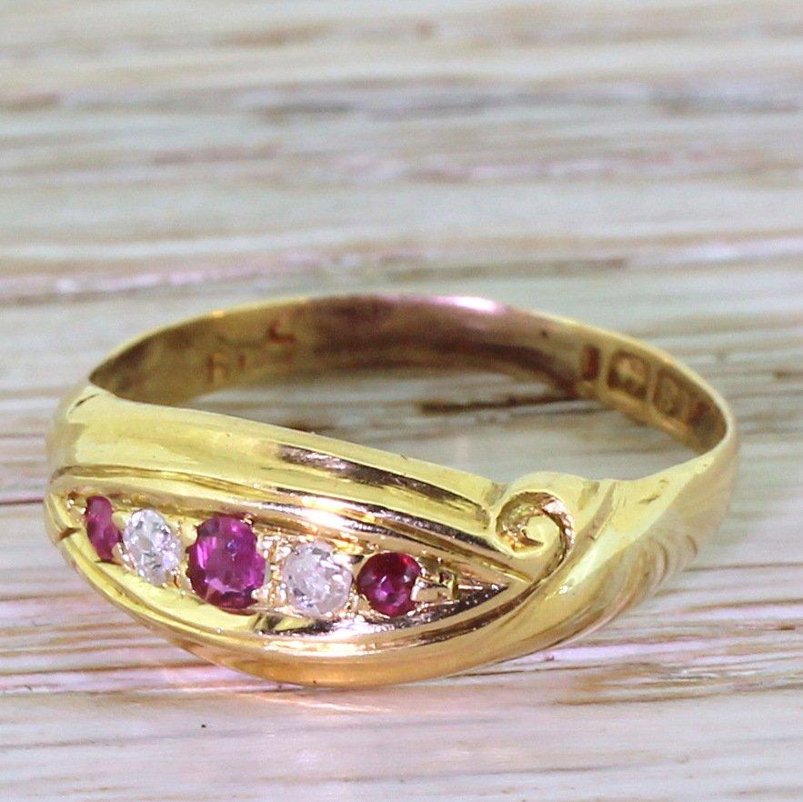 victorian ruby 038 old cut diamond five stone ring circa 1890