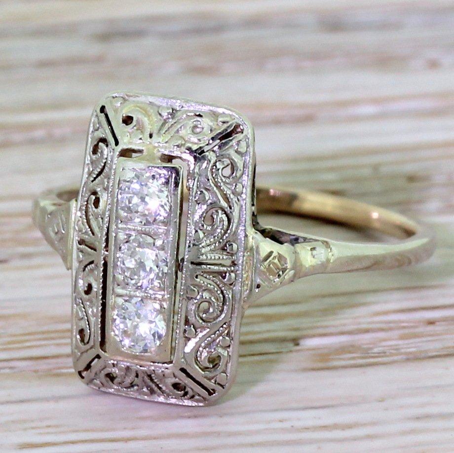 mid century 021 carat diamond 8220filigree8221 plaque ring circa 1950