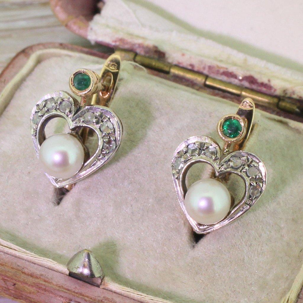 art deco rose cut diamond emerald 038 pearl heart earrings circa 1935