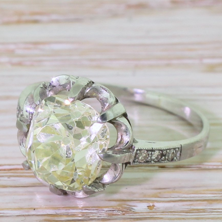 art deco 328 carat light greenish yellow old cut diamond engagement ring circa 1925