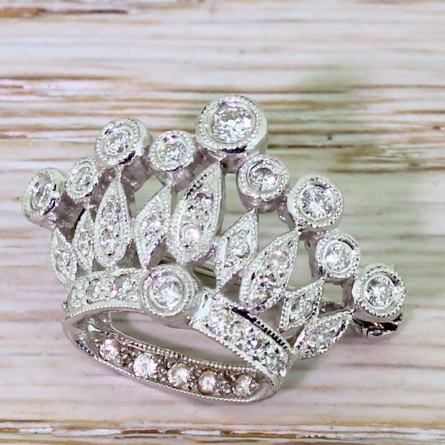 mid century 050 carat diamond crown brooch circa 1955