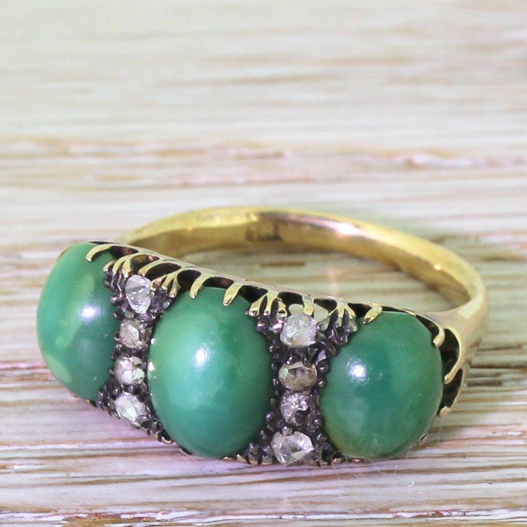 victorian green turquoise 038 rose cut diamond trilogy ring circa 1880