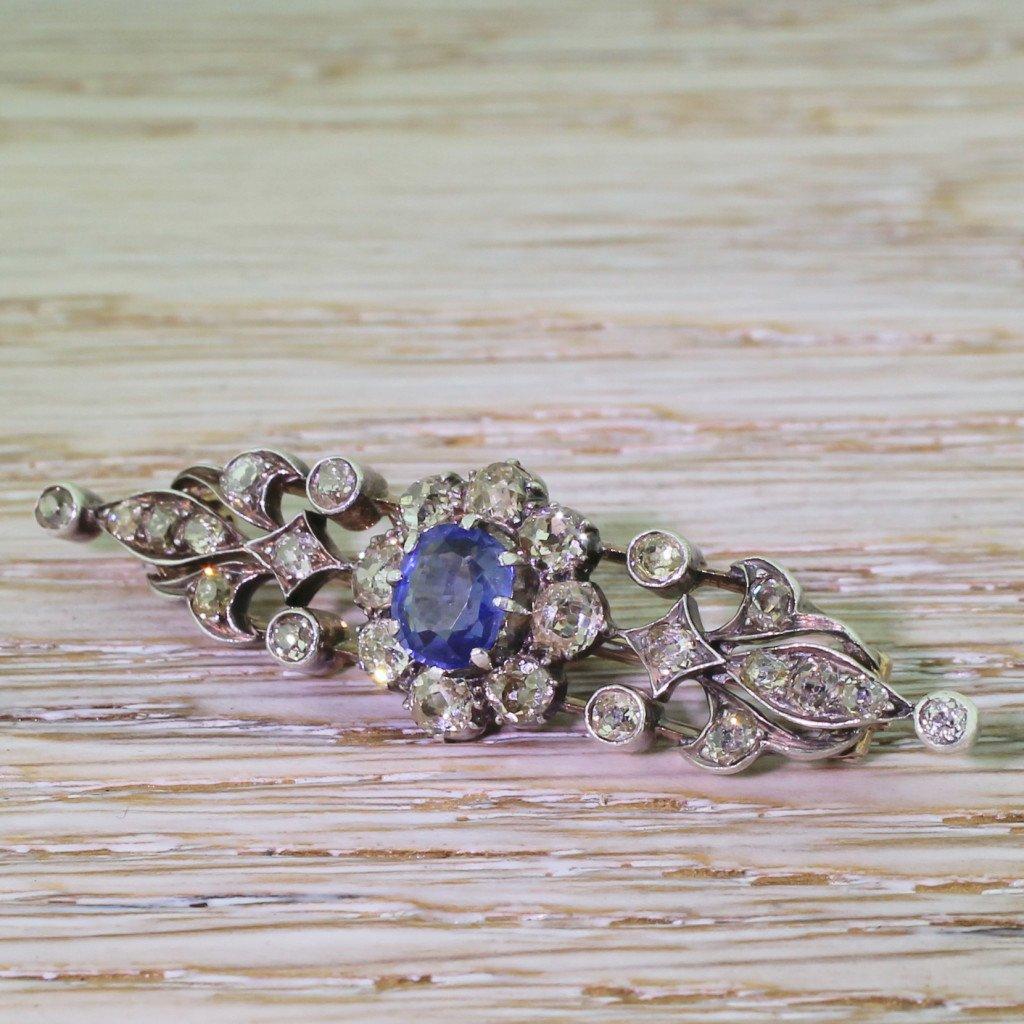 art nouveau sapphire 038 old cut diamond bar brooch circa 1890