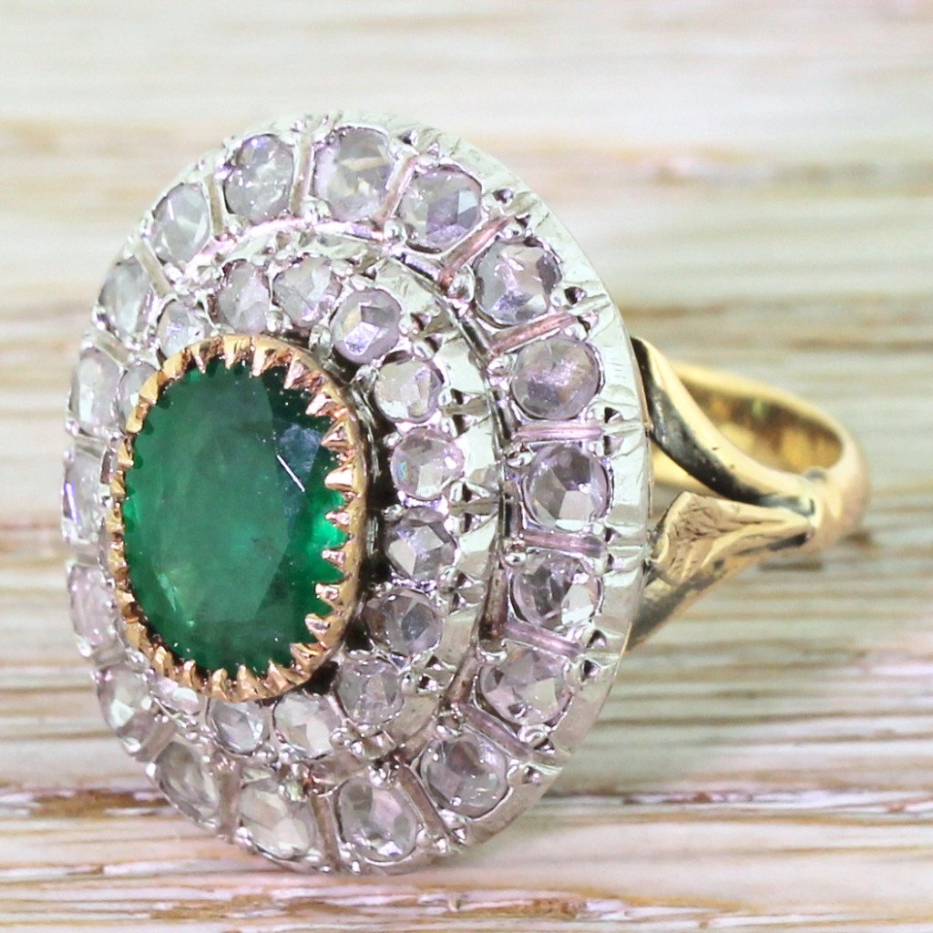 retro 180 carat emerald 038 rose cut diamond cocktail ring circa 1945