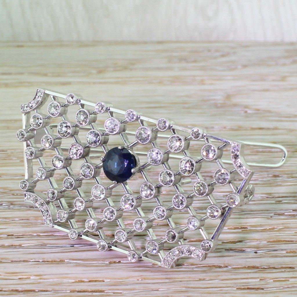 art deco old cut diamond 038 sapphire lattice barrette circa 1925
