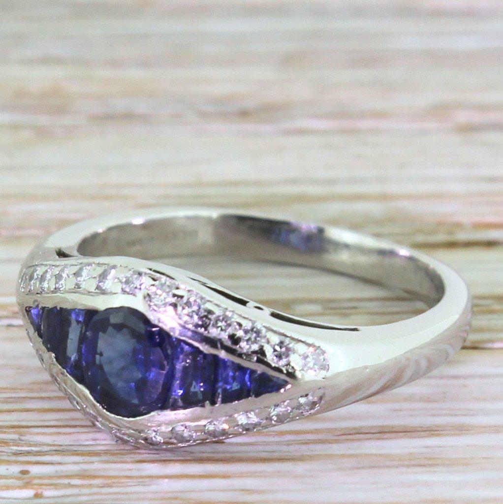 075 carat sapphire 038 diamond engagement ring platinum