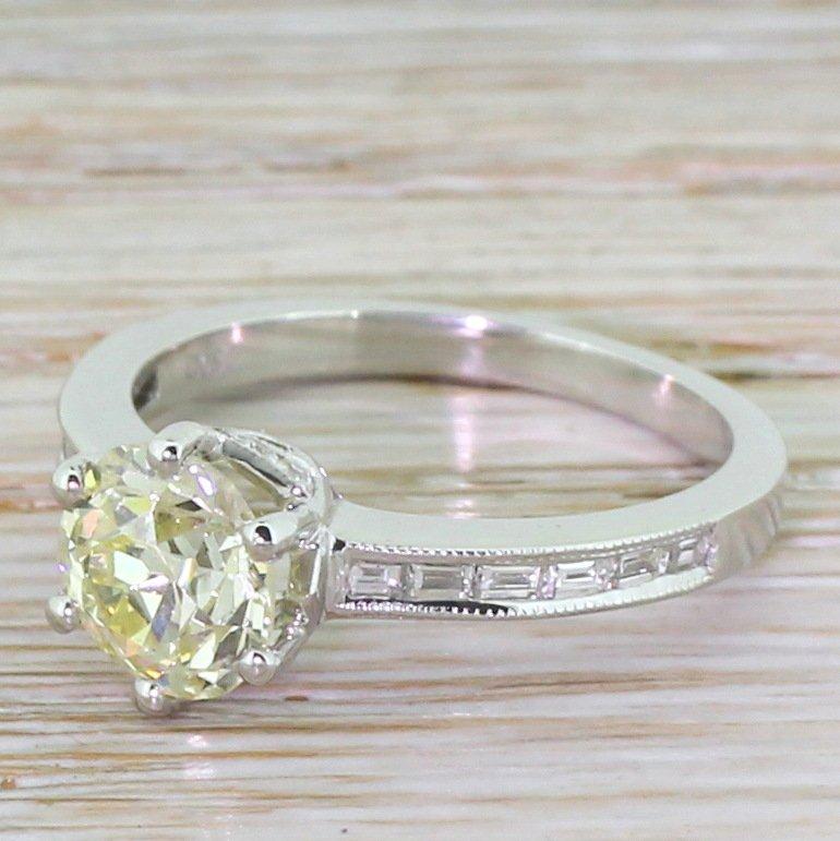 156 carat fancy light yellow old cut diamond engagement ring 18k white gold