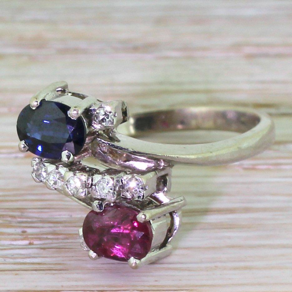 avant garde ruby sapphire 038 diamond crossover ring circa 1975