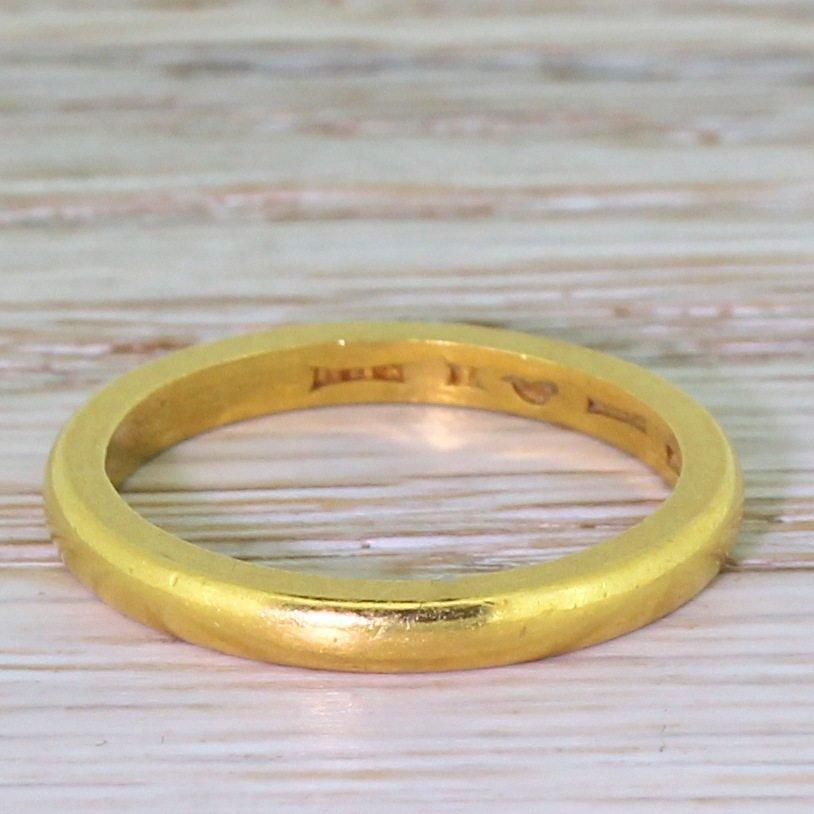 art deco 22k yellow gold wedding band dated 1938