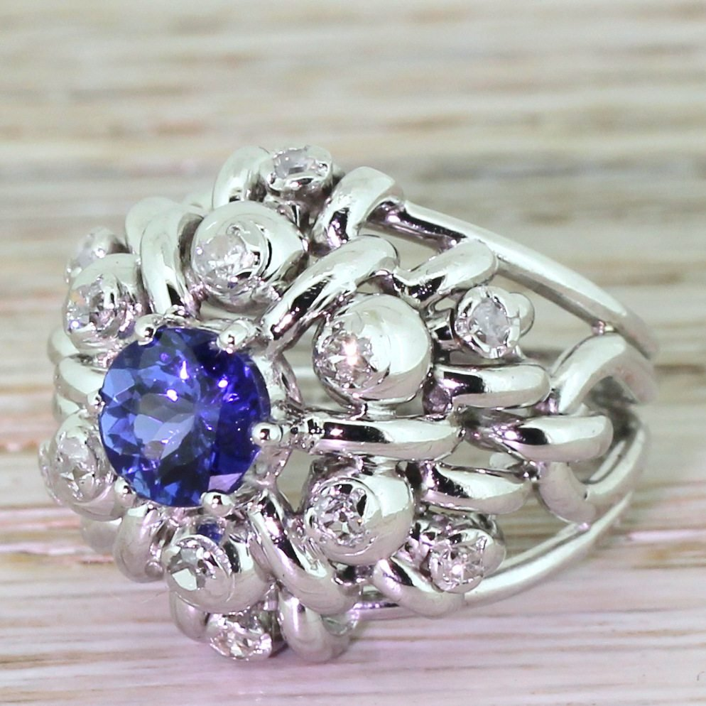 late 20th century 123 carat tanzanite 038 diamond cocktail ring circa 1975
