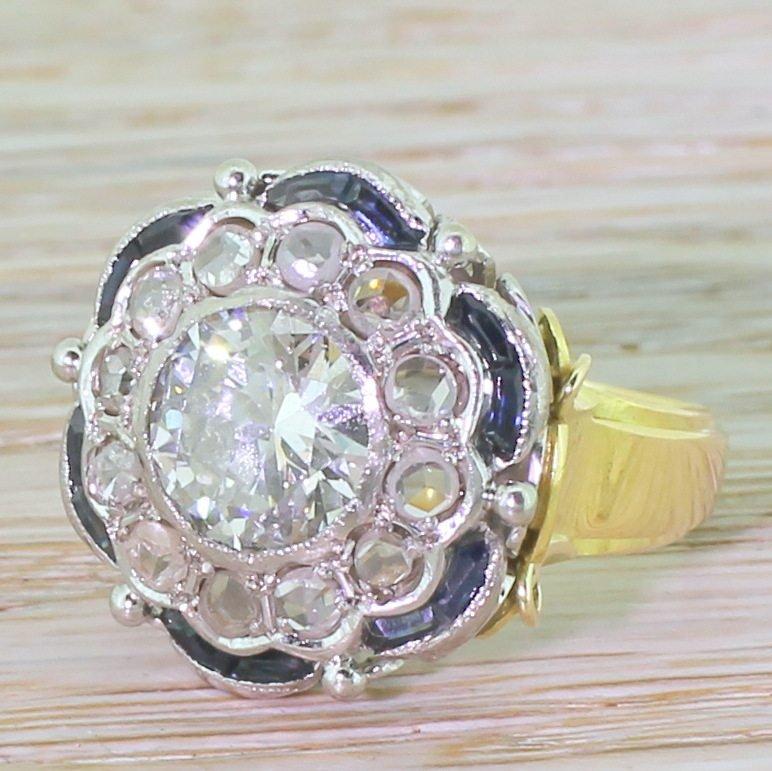 art deco 197 carat old cut diamond rose cut diamond 038 sapphire cluster ring circa 1940