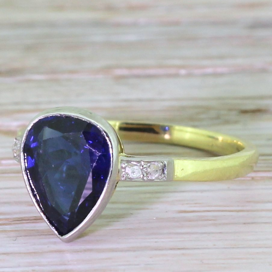 art deco 225 carat pear cut sapphire solitaire ring circa 1920