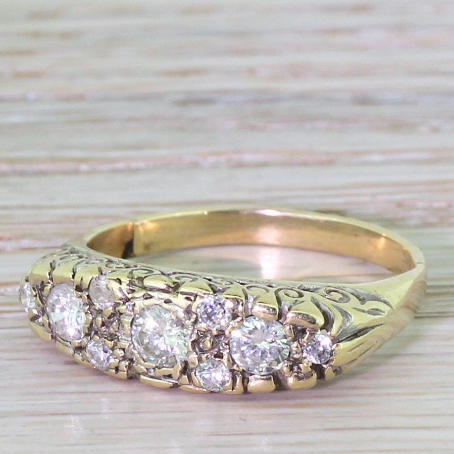 mid century 094 carat brilliant cut diamond half hoop ring circa 1960