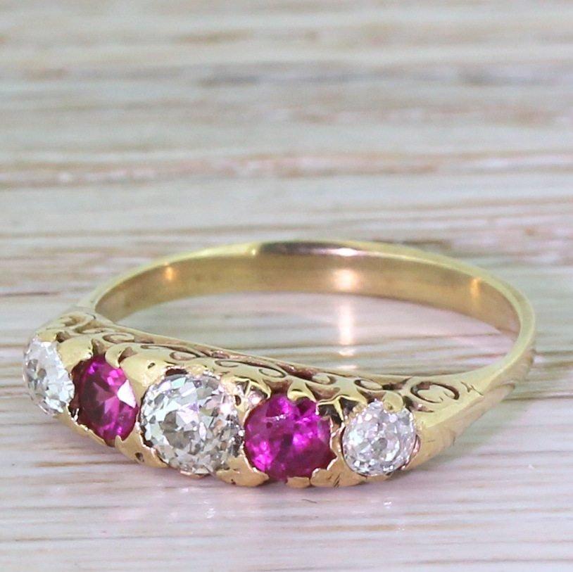 victorian old cut diamond 038 ruby five stone ring circa 1900