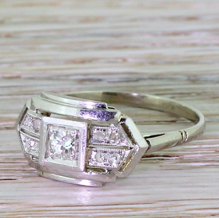 art deco 023 carat old cut diamond cluster ring french circa 1930