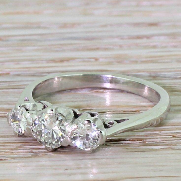 art deco 080 carat old european cut diamond trilogy ring circa 1935