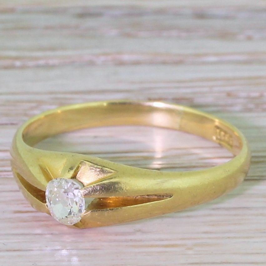 victorian 040 carat old oval cut diamond solitaire ring circa 1890