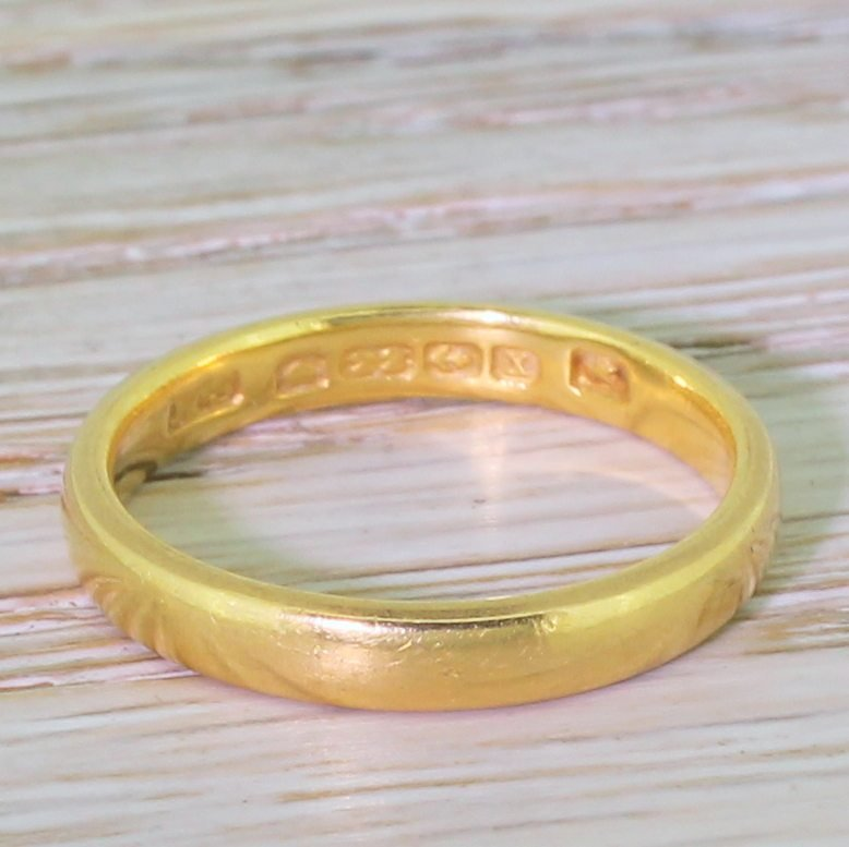 art deco 22k yellow gold wedding band dated 1922