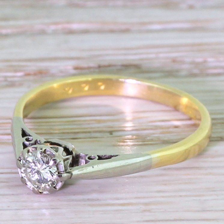 late 20th century 030 carat round brilliant cut diamond engagement ring circa 1970