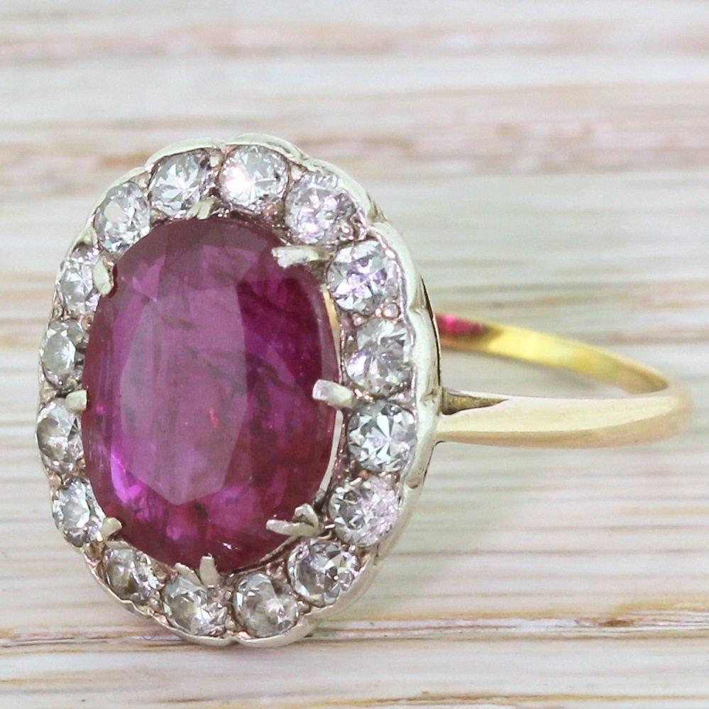 mid century 423 carat natural ruby 038 diamond cluster ring circa 1955