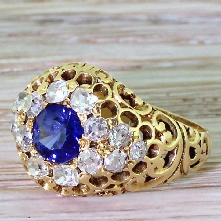 edwardian sapphire 038 old cut diamond filigree cluster ring circa 1905