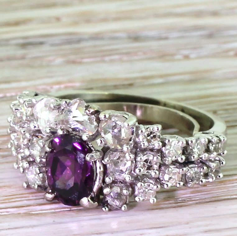 avant garde purple sapphire amp rose cut diamond ring circa 1965