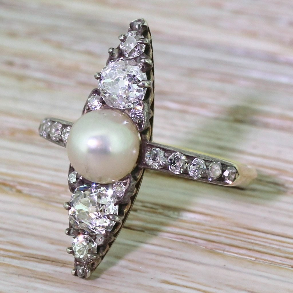 victorian natural pearl 038 old cut diamond navette ring circa 1870