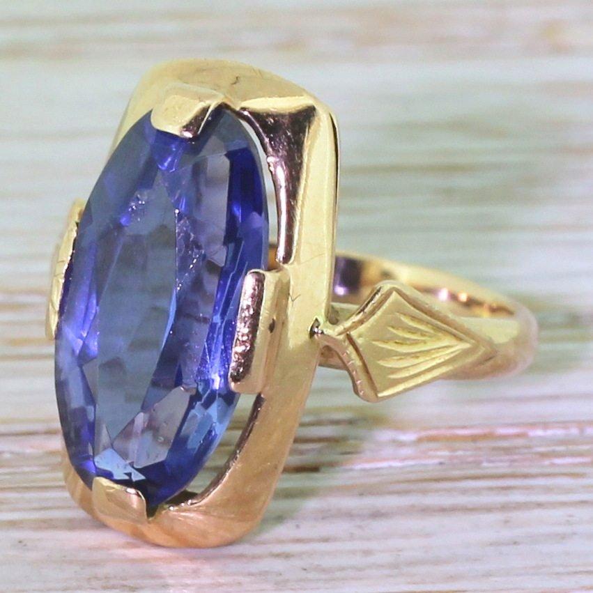 vintage soviet 350 carat synthetic sapphire dress ring circa 1980