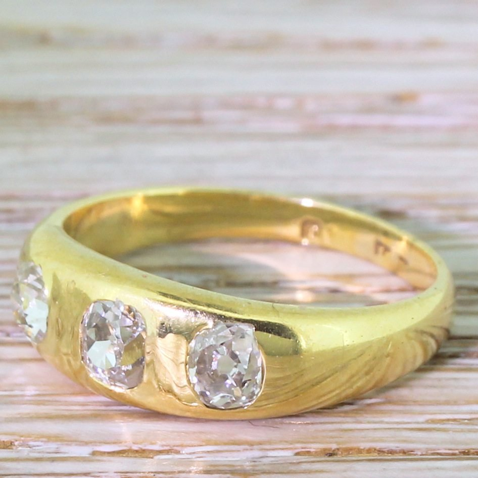 early 20th century 080 carat old cut diamond gypsy ring dated 1933