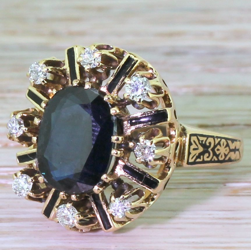 art deco 350 carat sapphire 038 diamond enamelled ring circa 1920