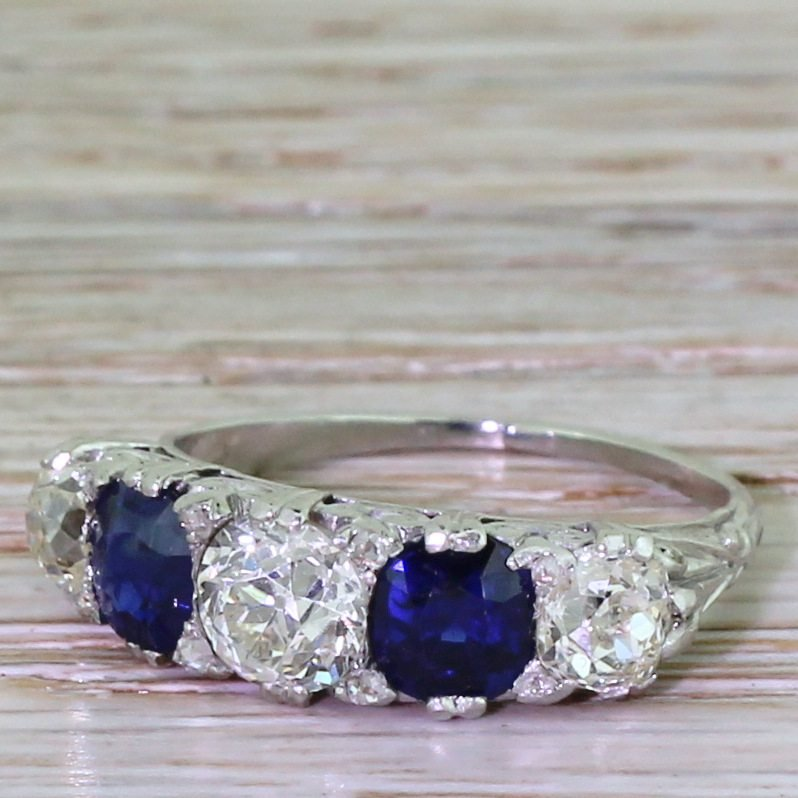 early 20th century 140 carat old cut diamond 038 sapphire five stone ring circa 1930