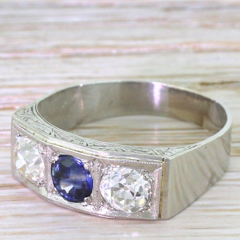 retro sapphire 038 old cut diamond trilogy ring circa 1945