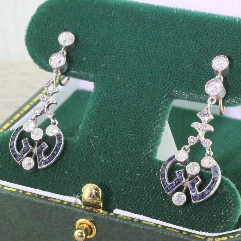 victorian sapphire 038 old cut diamond drop earrings circa 1870