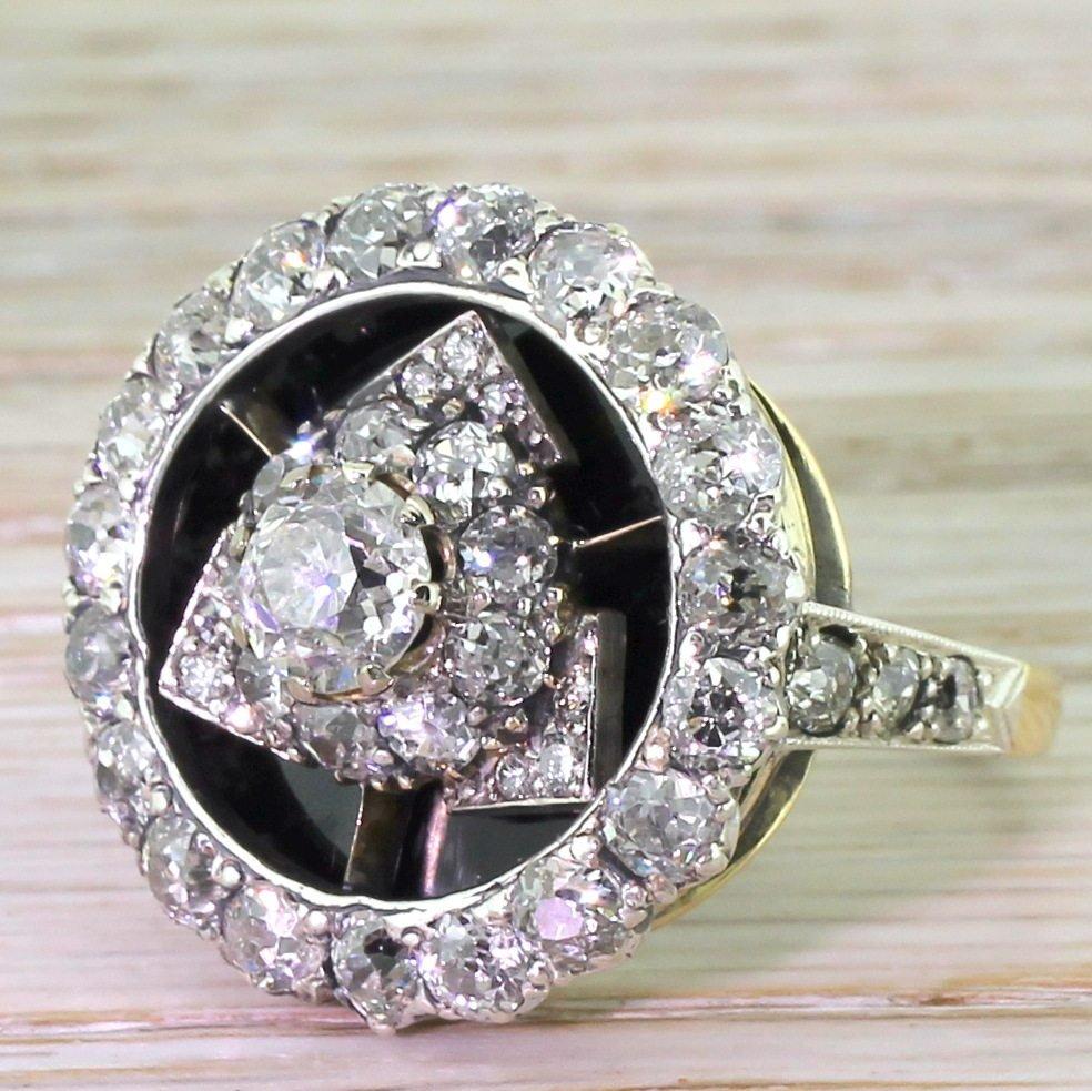 art deco 440 carat old cut diamond 038 onyx cluster ring circa 1925
